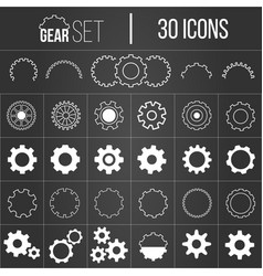 collection gearwheel mechanism icon set vector image