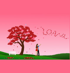concept of love with couple standing under the vector image