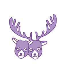 Contour cute elk head animal couple together vector