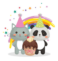 cute cat and bear panda sweet kawaii character vector image