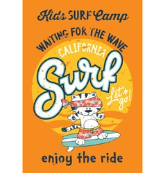 Cute kitten surfing camp vector image