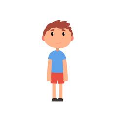Cute litlle preschooler boy cartoon vector