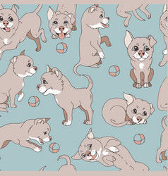 cute little doggy ball playing vector image