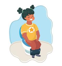 cute little girl on toilet vector image