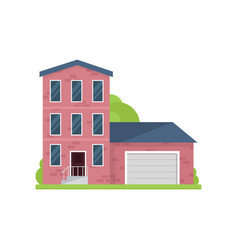 cute red brick house with three floors and garage vector image
