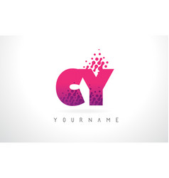 cy c y letter logo with pink purple color and vector image