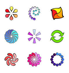 Cycle icons set cartoon style vector