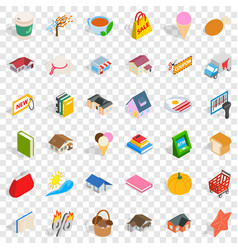 Dear icons set isometric style vector