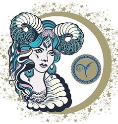 Decorative Zodiac sign Aries vector image