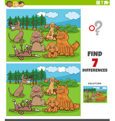 Differences task with cartoon dogs group vector