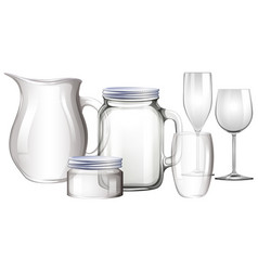 different types of glass containers vector image