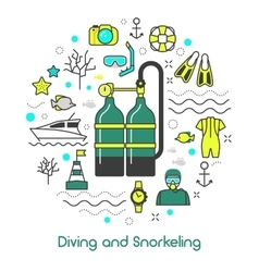 Diving Snorkeling Scuba Equipment Line Art Icons vector image