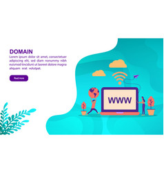 Domain concept with character template for banner vector