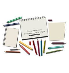 drawing isolated objects paper notebooks pencils vector image