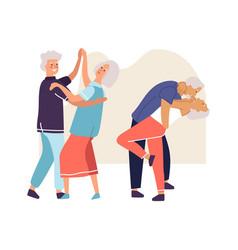 Elderly couples dancing senior people activities vector