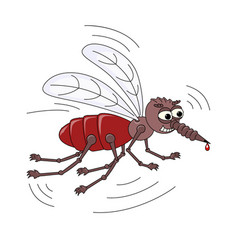 evil scary mosquito with a drop of blood on the vector image