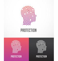Fingerprint scan logo privacy cyber security vector