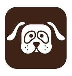 flat color dog head icon vector image
