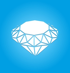 Flat Icon of Diamond on Blue Background vector