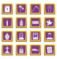 Funeral icons set purple vector