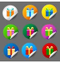 Gift box round label set vector image