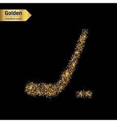 Gold glitter icon of hockey isolated on vector image