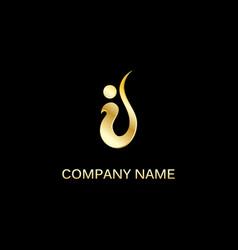Gold swoosh company logo vector