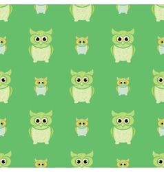 Green and yellow owls set vector image
