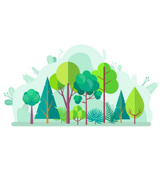 green forest with tree bushes firs and birches vector image