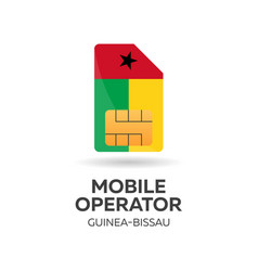 Guinea bissau mobile operator sim card with flag vector