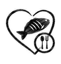 Hand drawing heart fish food health vector