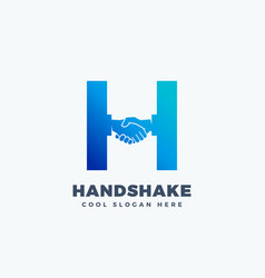 handshake abstract sign symbol or logo vector image