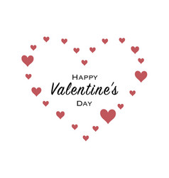 happy valentines day greeting card with black vector image