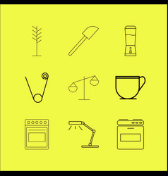 Home appliances linear icon set vector