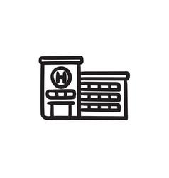 Hospital building sketch icon vector