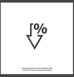 Icon down arrow and percentage sign on white vector