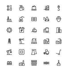 Industrial processes line icons 2 vector