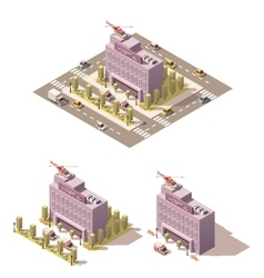 Isometric low poly hospital icon vector image