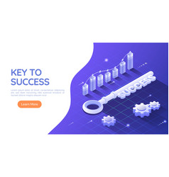 isometric web banner key to success on blue vector image