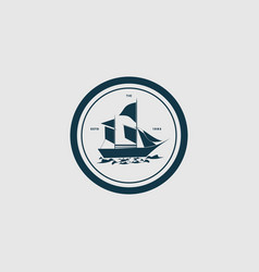 logo sailboat vintage badge style vector image