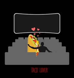 Lover taco Mexican food in movie theater Man and vector