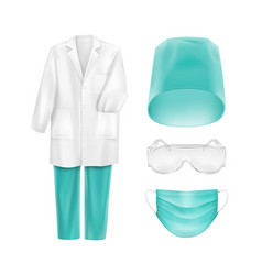 medical uniform accessories face mask hat glasses vector image