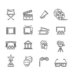 movie and cinema line icons set vector image
