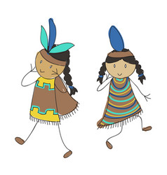 Native american kids vector