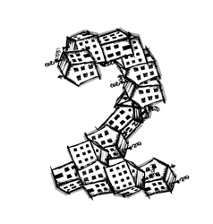 Number two made from houses alphabet vector image