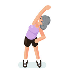 Old woman grandmother gymnastics stretching vector