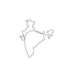 One line india design silhouette minimalism style vector