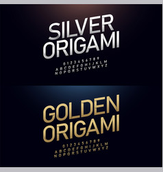 origami alphabet and number golden font paper cut vector image