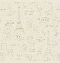 Paris romantic seamless pattern vector