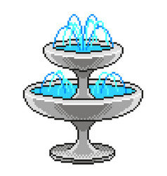 pixel small fountain detailed isolated vector image